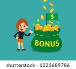 cartoon businesswoman with big... | Shutterstock .eps vector #1223689786