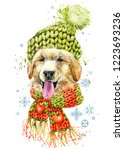 puppy dog in a knitted hat with ... | Shutterstock . vector #1223693236