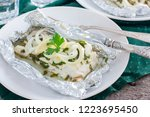 cod baked in foil with parsley...