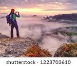 male traveler using mobile cell ... | Shutterstock . vector #1223703610