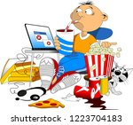 illustration of a teenage boy... | Shutterstock .eps vector #1223704183
