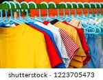 dry colorful clothes in the sun | Shutterstock . vector #1223705473