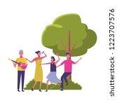 friends having fun cartoons   Shutterstock .eps vector #1223707576