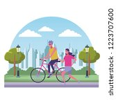 couple having fun at city | Shutterstock .eps vector #1223707600