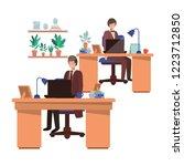 men working in the office...   Shutterstock .eps vector #1223712850