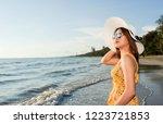 sun glasses traveler woman... | Shutterstock . vector #1223721853