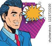 pop art businessman cartoon... | Shutterstock .eps vector #1223723230