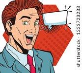 pop art businessman cartoon... | Shutterstock .eps vector #1223723233