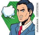 pop art businessman cartoon... | Shutterstock .eps vector #1223723236