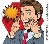 pop art businessman cartoon... | Shutterstock .eps vector #1223723239