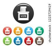 vote election box icons set 9...