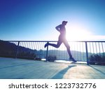 tall slim man run on the lake... | Shutterstock . vector #1223732776