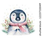 set of christmas woodland cute... | Shutterstock . vector #1223733049