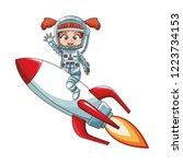 astronaut girl on spaceship | Shutterstock .eps vector #1223734153