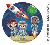 happy astronaut kids | Shutterstock .eps vector #1223734249