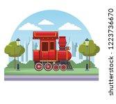 empty train cabin cartoon | Shutterstock .eps vector #1223736670