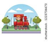 kid riding train cartoon | Shutterstock .eps vector #1223736673