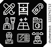 set of 9 house outline icons... | Shutterstock .eps vector #1223741713