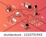 vector isometric city center.... | Shutterstock .eps vector #1223751943