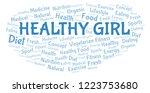 healthy girl word cloud.   Shutterstock . vector #1223753680