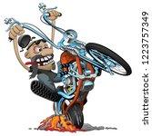 crazy biker on an old school... | Shutterstock .eps vector #1223757349