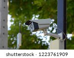 out door ip camera on the wall  ... | Shutterstock . vector #1223761909