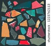 vector set. pieces of torn... | Shutterstock .eps vector #1223762113