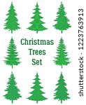 set of green holiday christmas... | Shutterstock .eps vector #1223763913