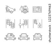 autonomous car linear icons set.... | Shutterstock .eps vector #1223769463