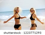 two happy attractive girls are... | Shutterstock . vector #1223771293