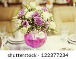 white and pink wedding bouquet... | Shutterstock . vector #122377234
