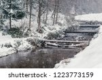 Winter Landscape With Pond In...