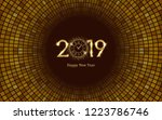 golden happy new year 2019 and... | Shutterstock .eps vector #1223786746