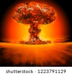 nuclear bomb explosion 3d...   Shutterstock . vector #1223791129