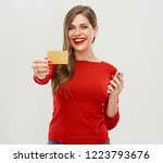 portrait of smiling woman... | Shutterstock . vector #1223793676