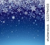 winter background with snowfall ... | Shutterstock .eps vector #1223796433