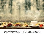 hot coffee on the table on a...   Shutterstock . vector #1223808520
