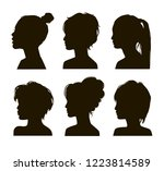 asian elegant silhouettes with... | Shutterstock .eps vector #1223814589