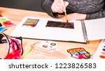 step by step. baker sketching a ... | Shutterstock . vector #1223826583