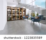 library shelves with books in... | Shutterstock . vector #1223835589