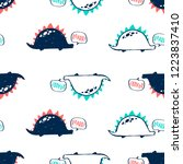 hand drawing dinosaur pattern...   Shutterstock .eps vector #1223837410