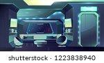 future spaceship crew cabin... | Shutterstock .eps vector #1223838940
