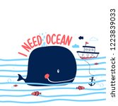 hand drawing whale illustration ... | Shutterstock .eps vector #1223839033