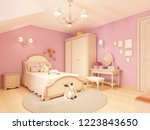 light children's room in a... | Shutterstock . vector #1223843650