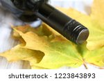 bottle of wine and yellow maple ... | Shutterstock . vector #1223843893