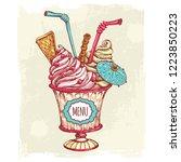 illustration with dessert.... | Shutterstock .eps vector #1223850223