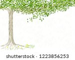 hand drawn lonely tree on the... | Shutterstock .eps vector #1223856253