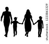 silhouette of happy family on a ... | Shutterstock .eps vector #1223861329