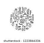 round badge of vector beauty... | Shutterstock .eps vector #1223866336
