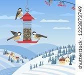 chickadee birds on feeder....   Shutterstock .eps vector #1223873749